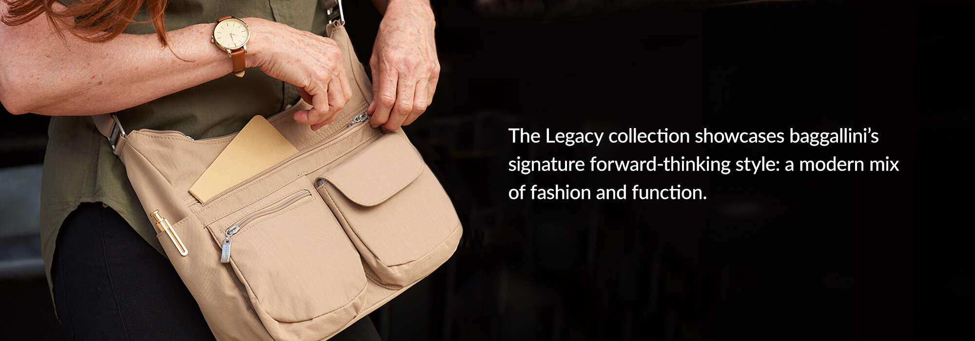 Flagship fashion. The Legacy collection showcases baggallini's signature forward-thinking style: a modern mix of fashion and function.