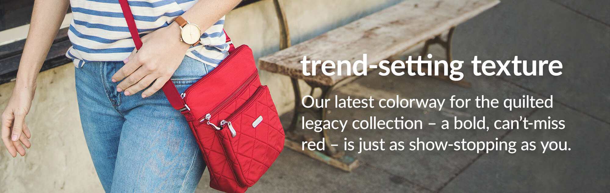 'Trend-setting texture. Our latest colorway for the quilted legacy collection -  a bold