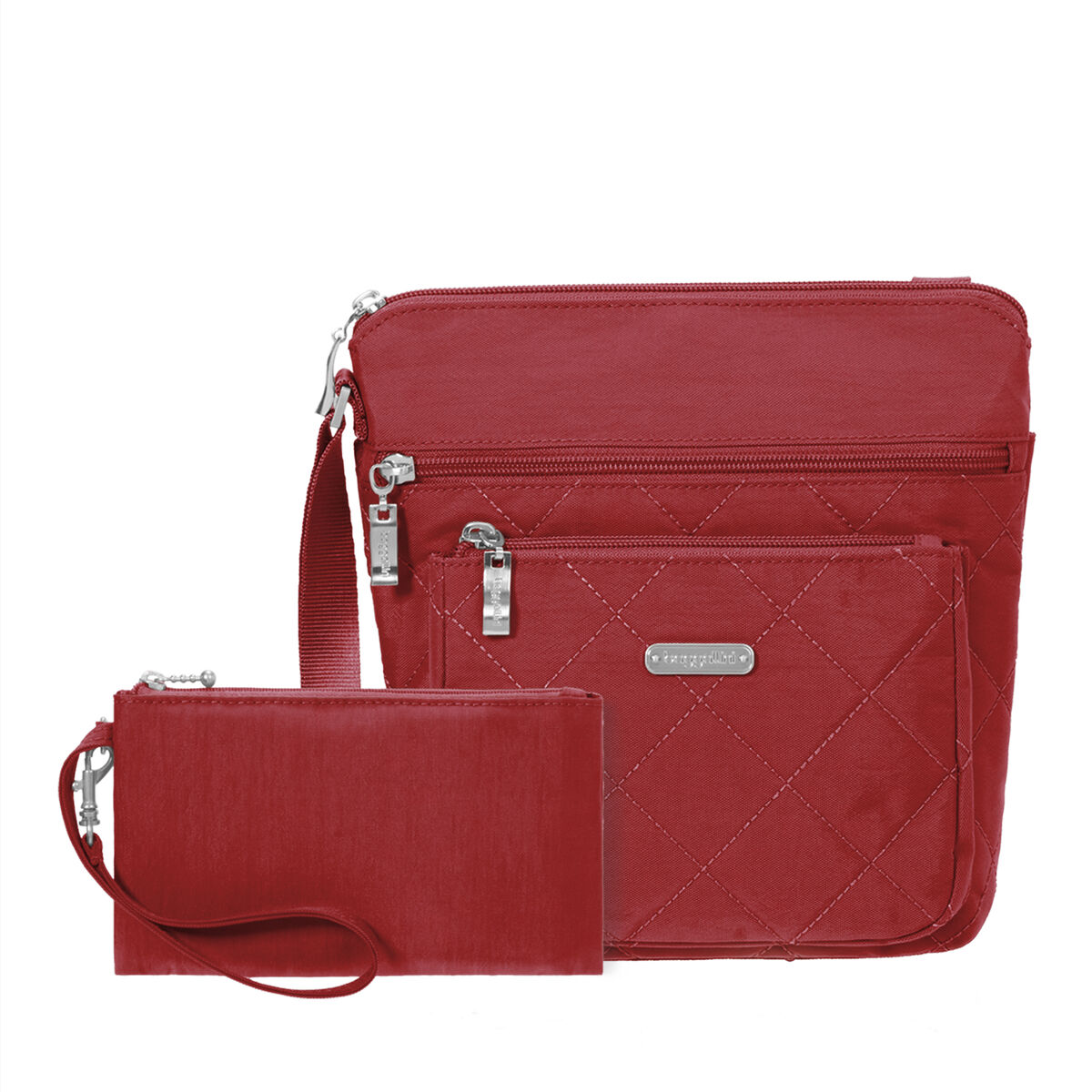 quilted pocket crossbody bag with rfid wristlet