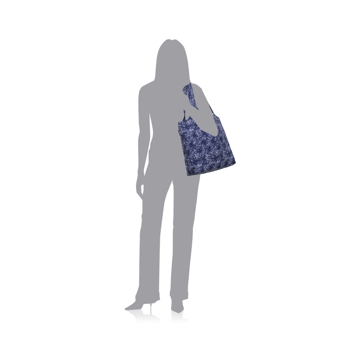 indigo floral shopper