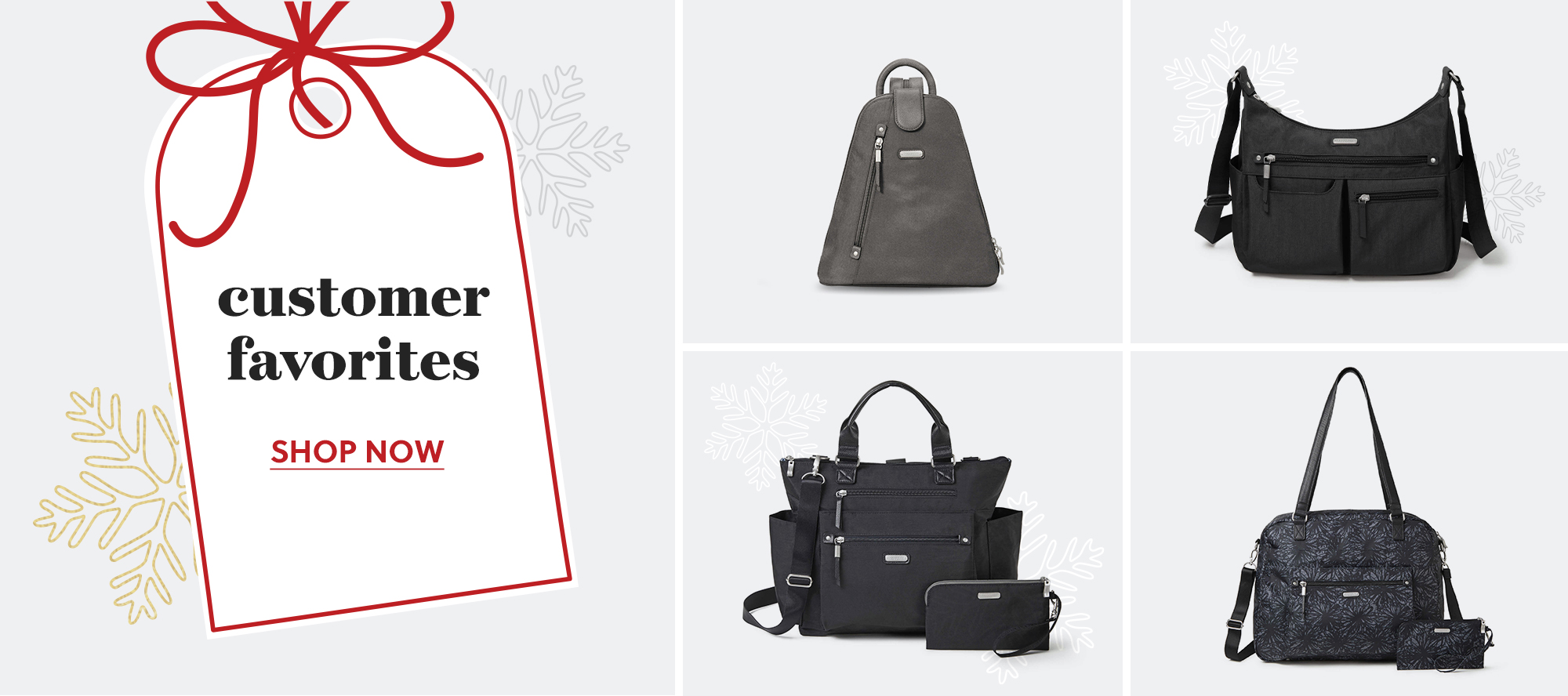 An assorment of customer favorite bags with a snowflake background