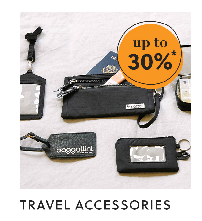 travel accessories: up to 30%