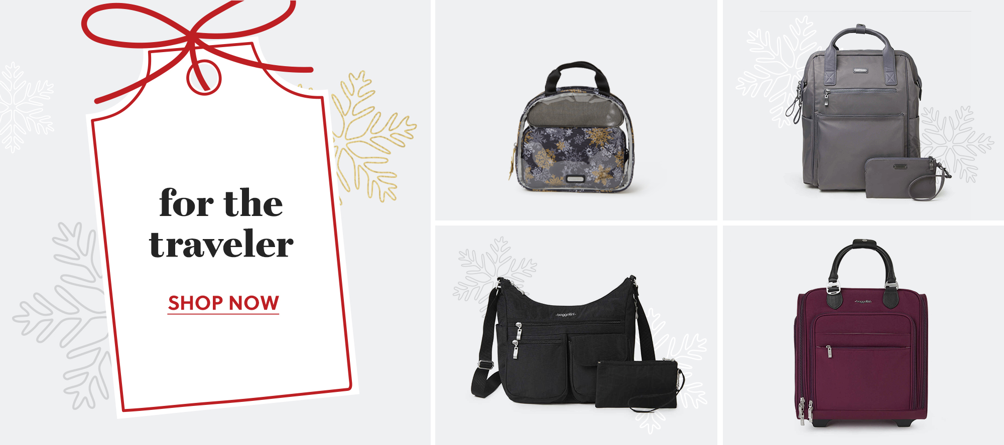 An assorment of bags intended for the traveler with a snowflake background