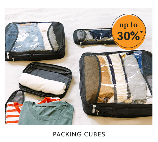 packing cubes: up to 30%