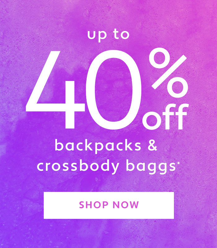 40% off backpacks and crossbody baggs